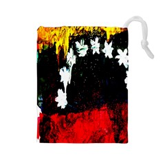 Grunge Abstract In Dark Drawstring Pouches (Large)