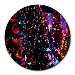Lit Christmas Trees Prelit Creating A Colorful Pattern Round Mousepads