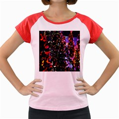 Lit Christmas Trees Prelit Creating A Colorful Pattern Women s Cap Sleeve T-Shirt