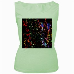 Lit Christmas Trees Prelit Creating A Colorful Pattern Women s Green Tank Top