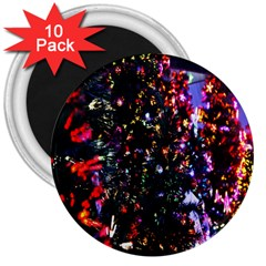 Lit Christmas Trees Prelit Creating A Colorful Pattern 3  Magnets (10 pack)