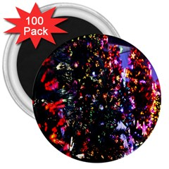 Lit Christmas Trees Prelit Creating A Colorful Pattern 3  Magnets (100 pack)