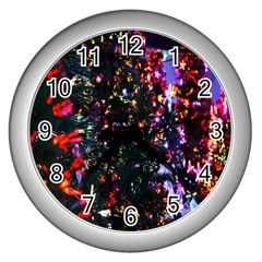 Lit Christmas Trees Prelit Creating A Colorful Pattern Wall Clocks (silver)