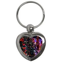 Lit Christmas Trees Prelit Creating A Colorful Pattern Key Chains (heart)