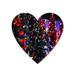 Lit Christmas Trees Prelit Creating A Colorful Pattern Heart Magnet