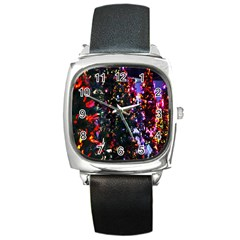 Lit Christmas Trees Prelit Creating A Colorful Pattern Square Metal Watch