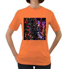 Lit Christmas Trees Prelit Creating A Colorful Pattern Women s Dark T Shirt
