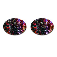 Lit Christmas Trees Prelit Creating A Colorful Pattern Cufflinks (Oval)