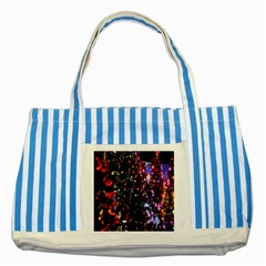 Lit Christmas Trees Prelit Creating A Colorful Pattern Striped Blue Tote Bag