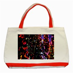 Lit Christmas Trees Prelit Creating A Colorful Pattern Classic Tote Bag (red)