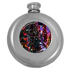 Lit Christmas Trees Prelit Creating A Colorful Pattern Round Hip Flask (5 oz)