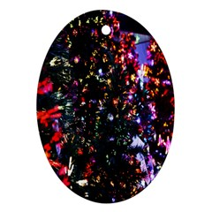 Lit Christmas Trees Prelit Creating A Colorful Pattern Oval Ornament (Two Sides)
