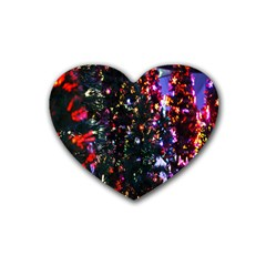 Lit Christmas Trees Prelit Creating A Colorful Pattern Heart Coaster (4 pack)