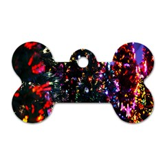 Lit Christmas Trees Prelit Creating A Colorful Pattern Dog Tag Bone (two Sides)