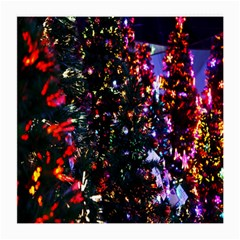 Lit Christmas Trees Prelit Creating A Colorful Pattern Medium Glasses Cloth (2-Side)