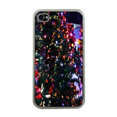 Lit Christmas Trees Prelit Creating A Colorful Pattern Apple iPhone 4 Case (Clear)