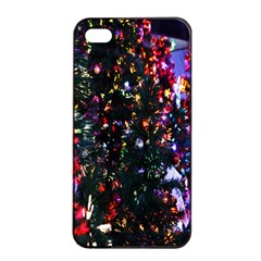 Lit Christmas Trees Prelit Creating A Colorful Pattern Apple Iphone 4/4s Seamless Case (black)