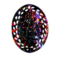 Lit Christmas Trees Prelit Creating A Colorful Pattern Ornament (oval Filigree)