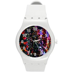 Lit Christmas Trees Prelit Creating A Colorful Pattern Round Plastic Sport Watch (M)