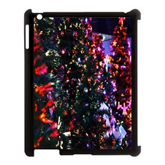 Lit Christmas Trees Prelit Creating A Colorful Pattern Apple iPad 3/4 Case (Black)