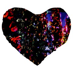 Lit Christmas Trees Prelit Creating A Colorful Pattern Large 19  Premium Heart Shape Cushions