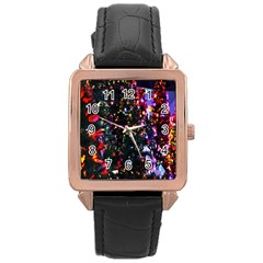 Lit Christmas Trees Prelit Creating A Colorful Pattern Rose Gold Leather Watch