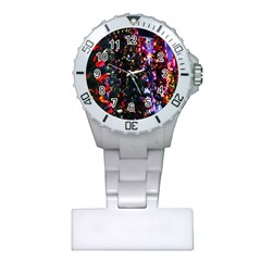 Lit Christmas Trees Prelit Creating A Colorful Pattern Plastic Nurses Watch