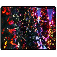 Lit Christmas Trees Prelit Creating A Colorful Pattern Double Sided Fleece Blanket (medium)