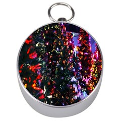 Lit Christmas Trees Prelit Creating A Colorful Pattern Silver Compasses