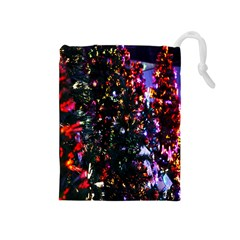 Lit Christmas Trees Prelit Creating A Colorful Pattern Drawstring Pouches (Medium)