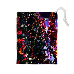 Lit Christmas Trees Prelit Creating A Colorful Pattern Drawstring Pouches (large)