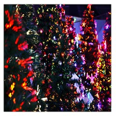 Lit Christmas Trees Prelit Creating A Colorful Pattern Large Satin Scarf (Square)