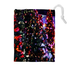 Lit Christmas Trees Prelit Creating A Colorful Pattern Drawstring Pouches (extra Large)