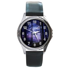 Moonlit A Forest At Night With A Full Moon Round Metal Watch