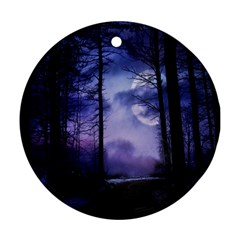 Moonlit A Forest At Night With A Full Moon Ornament (round)