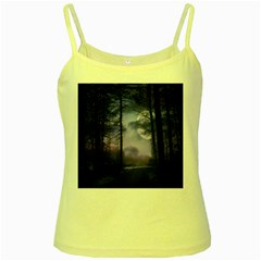 Moonlit A Forest At Night With A Full Moon Yellow Spaghetti Tank