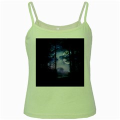 Moonlit A Forest At Night With A Full Moon Green Spaghetti Tank