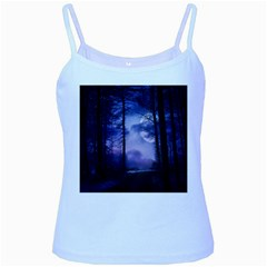 Moonlit A Forest At Night With A Full Moon Baby Blue Spaghetti Tank