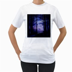 Moonlit A Forest At Night With A Full Moon Women s T-Shirt (White) (Two Sided)