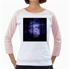 Moonlit A Forest At Night With A Full Moon Girly Raglans