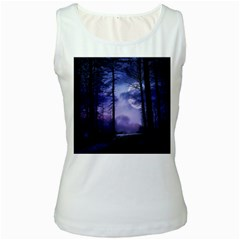 Moonlit A Forest At Night With A Full Moon Women s White Tank Top