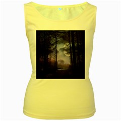 Moonlit A Forest At Night With A Full Moon Women s Yellow Tank Top