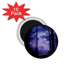 Moonlit A Forest At Night With A Full Moon 1 75  Magnets (10 Pack)
