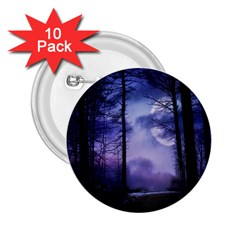 Moonlit A Forest At Night With A Full Moon 2 25  Buttons (10 Pack)