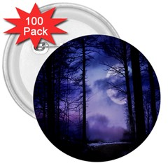 Moonlit A Forest At Night With A Full Moon 3  Buttons (100 Pack)