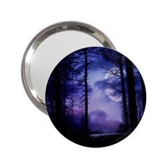 Moonlit A Forest At Night With A Full Moon 2 25  Handbag Mirrors