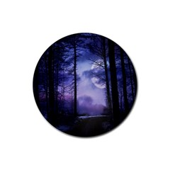 Moonlit A Forest At Night With A Full Moon Rubber Round Coaster (4 pack)