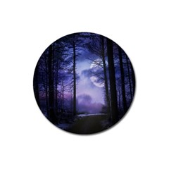 Moonlit A Forest At Night With A Full Moon Magnet 3  (Round)