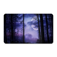 Moonlit A Forest At Night With A Full Moon Magnet (Rectangular)