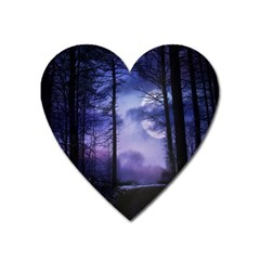 Moonlit A Forest At Night With A Full Moon Heart Magnet
